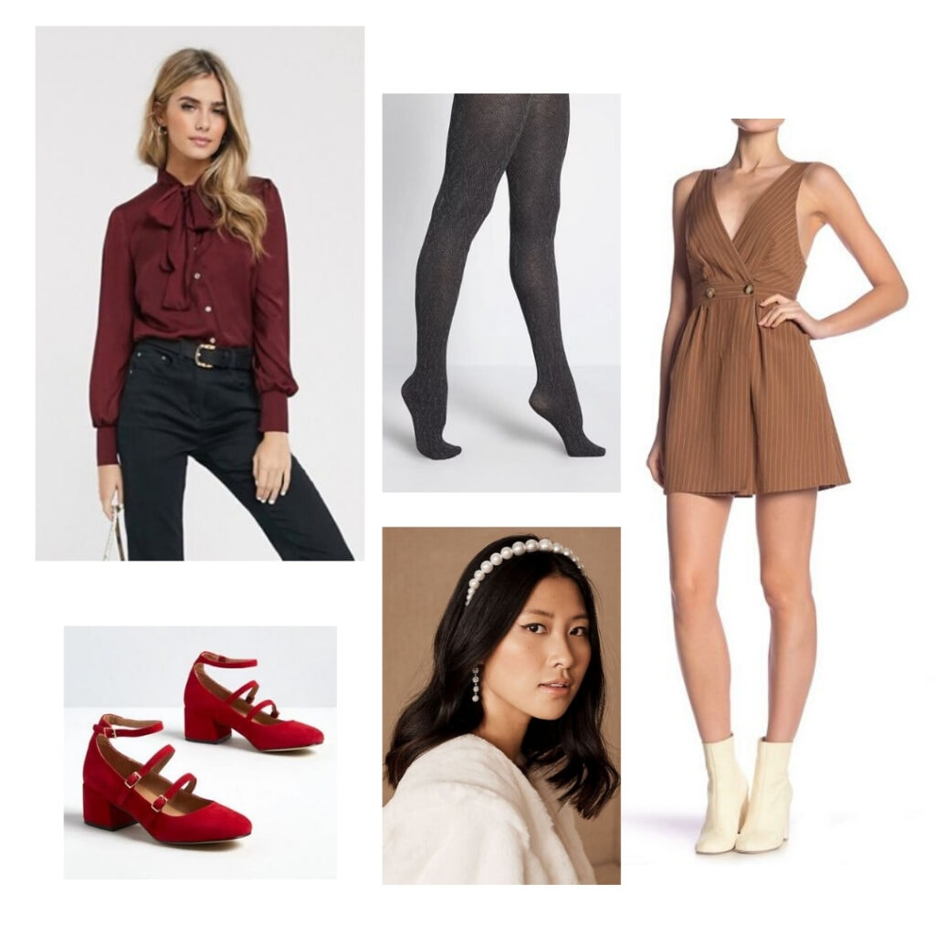 What to wear to a holiday party - Red blouse, grey tights, brown dress, pearl headband, red shoes.