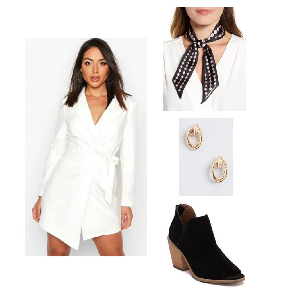 White dress, black and pink scarf, gold earrings, black boots.