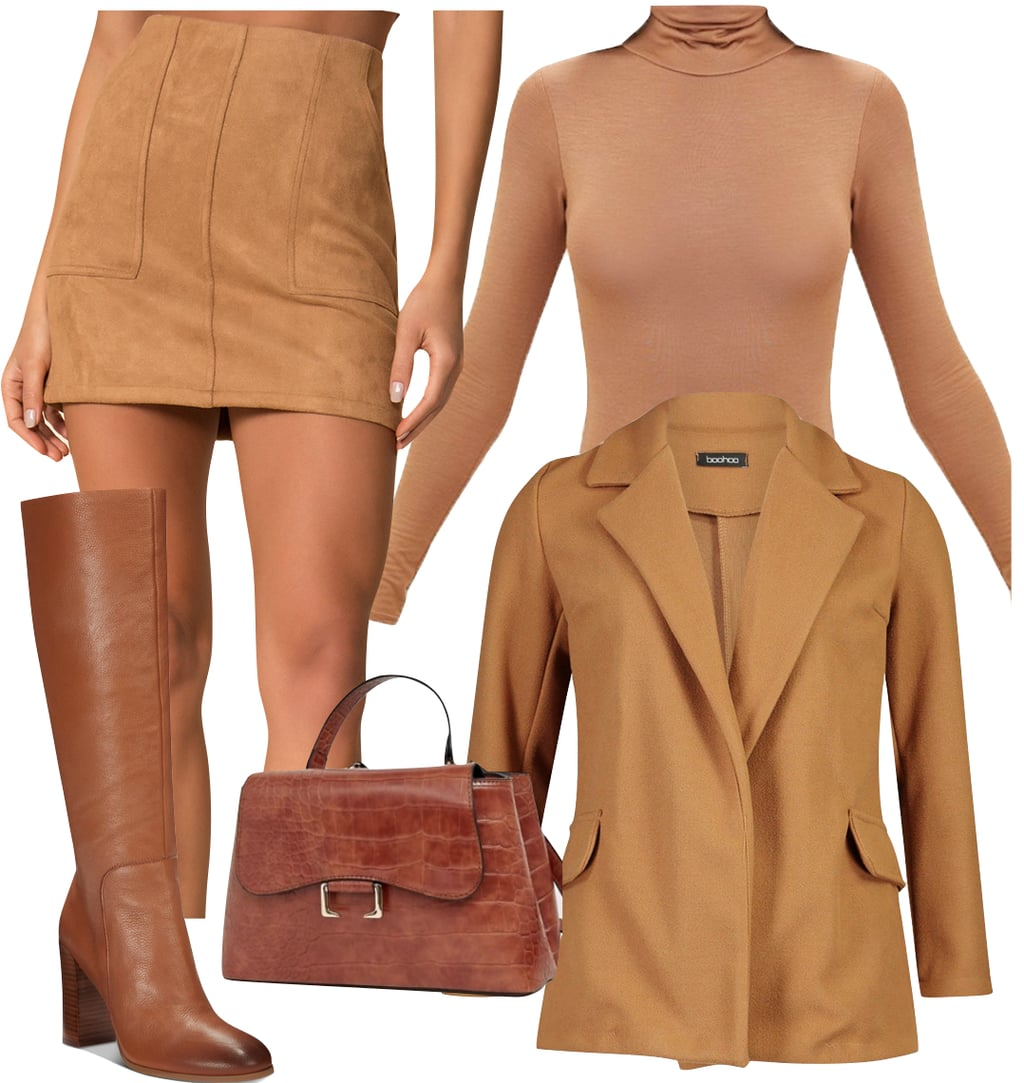 Camel clothing 101: Camila Morrone Outfit: camel turtleneck bodysuit, camel suede mini skirt, camel blazer, cognac brown knee-high boots, and tan top-handle handbag