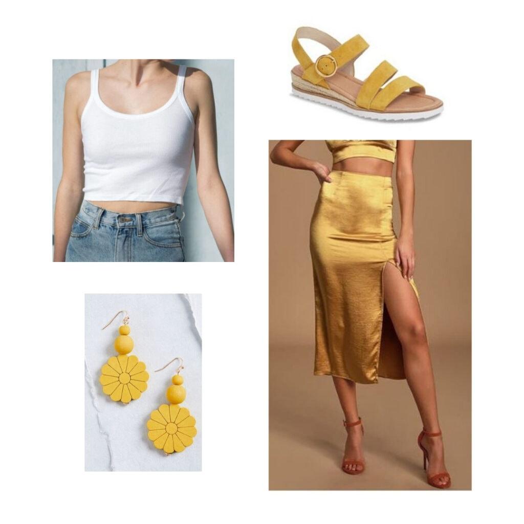 white tank top, yellow silk skirt, yellow sandals, yellow flower earrings.