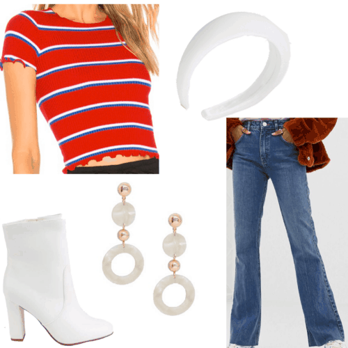Lana Del Rey style - Born to Die inspired outfit set with cropped tee, bell bottom jeans, white boots, statement earrings, headband