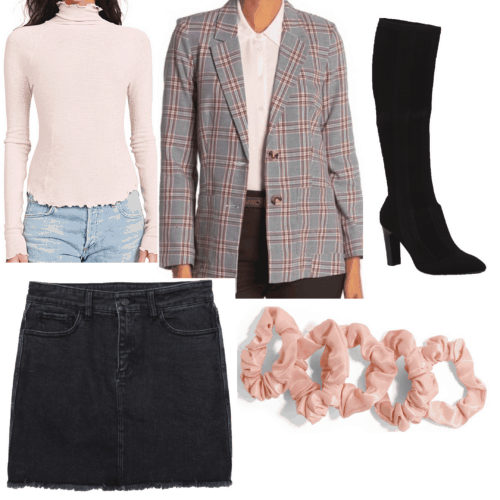 Lana Del Rey style - Ultraviolence inspired outfit set with plaid blazer, jean skirt, pink scrunchie, lettuce hem shirt