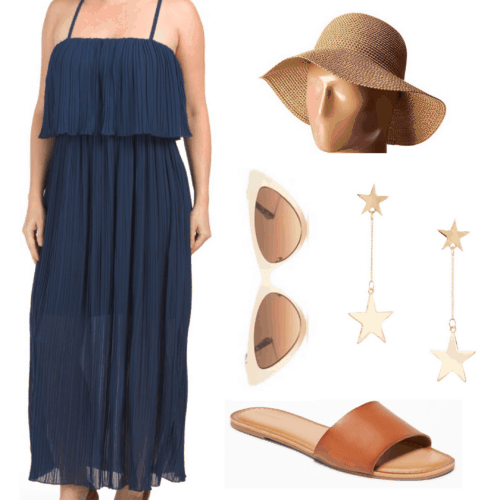 Lana Del Rey style - Honeymoon inspired outfit set with dress, sandals, and hat