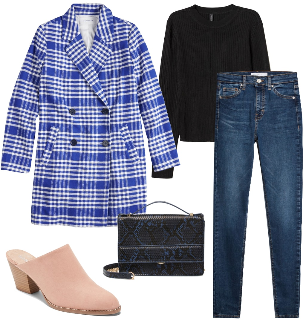 Hilary Duff Outfit: blue plaid coat, black sweater, skinny jeans, pink mules, and blue snake print crossbody bag