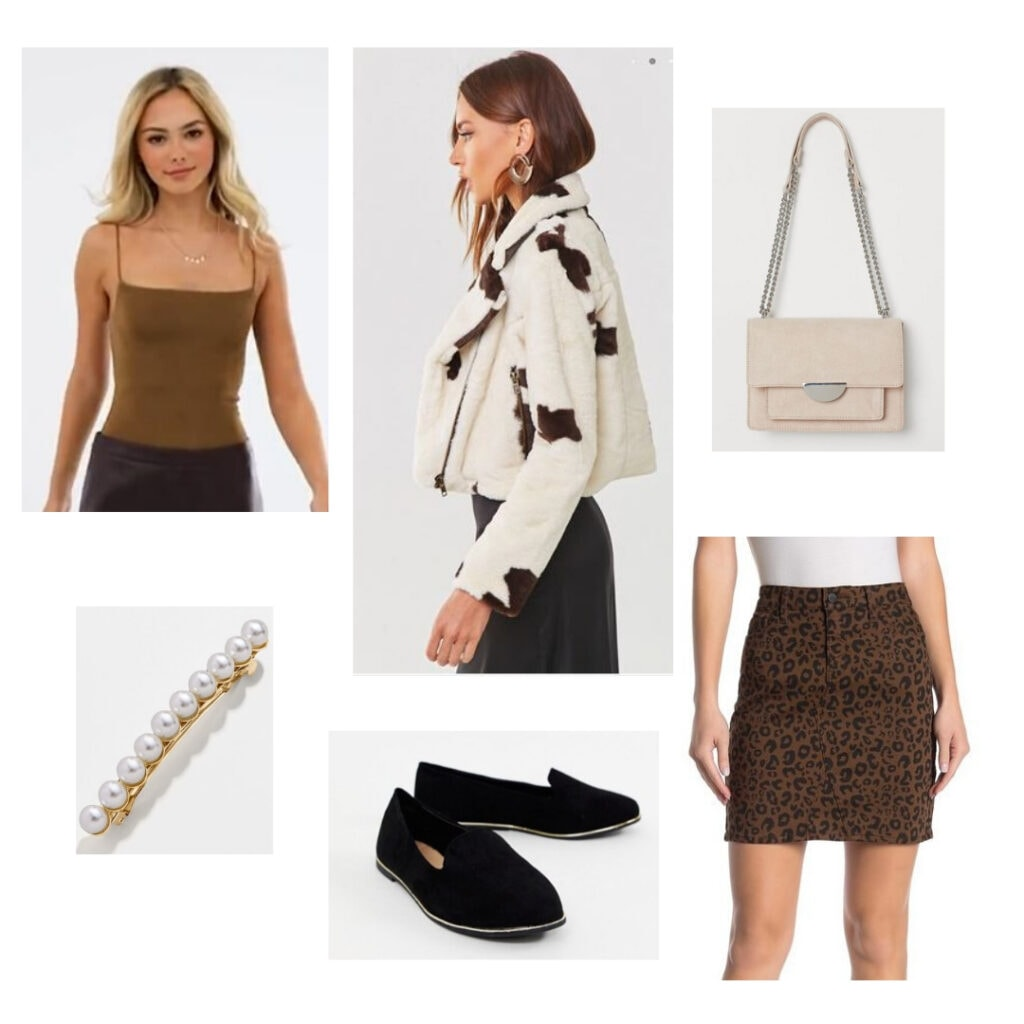 What to wear to a holiday party: Brown shirt, white + brown fur jacket, purse, brown leopard skirt, black flats, pearl barrette.