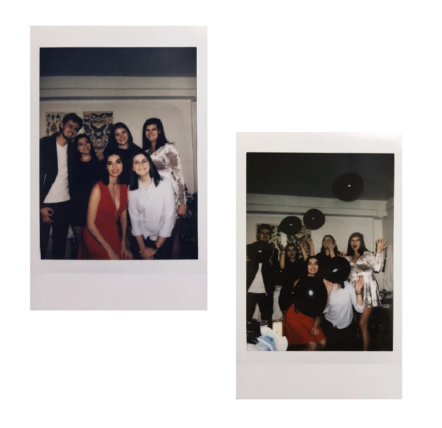 College birthday guide - Photo of Polaroid pictures of a group of friends (author pictured)