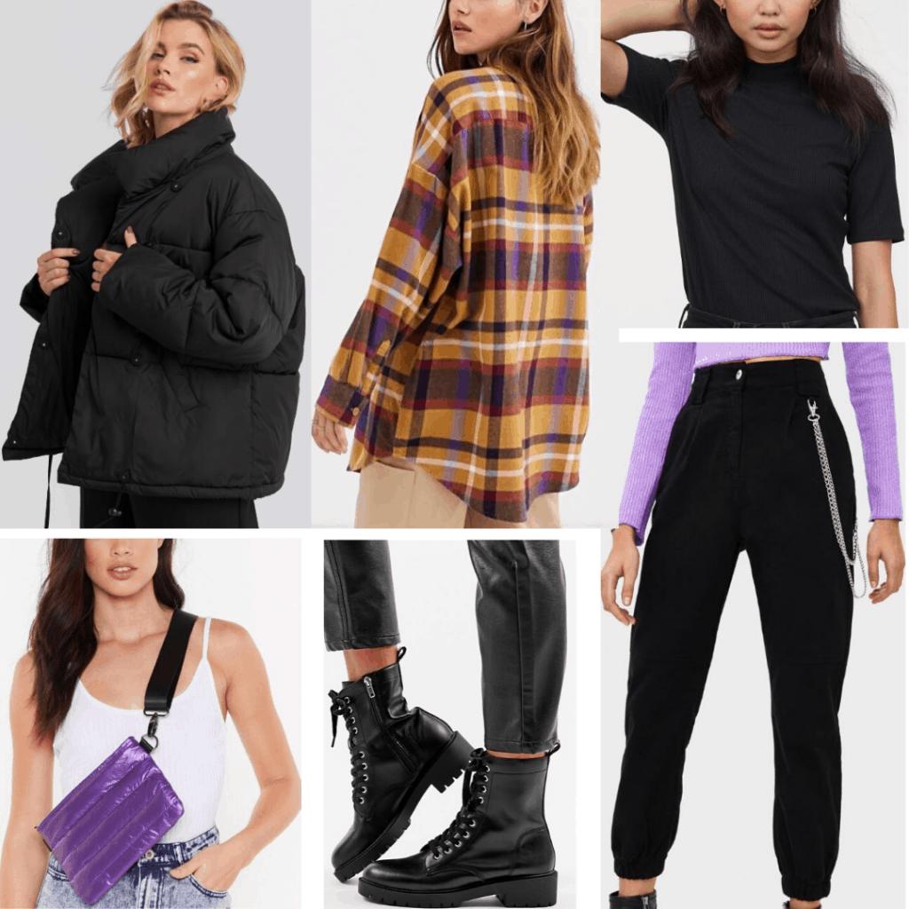 Edgy Korean fashion outfit with puffer coat, plaid shirt, crossbody bag, Doc Martens, black zipper pants