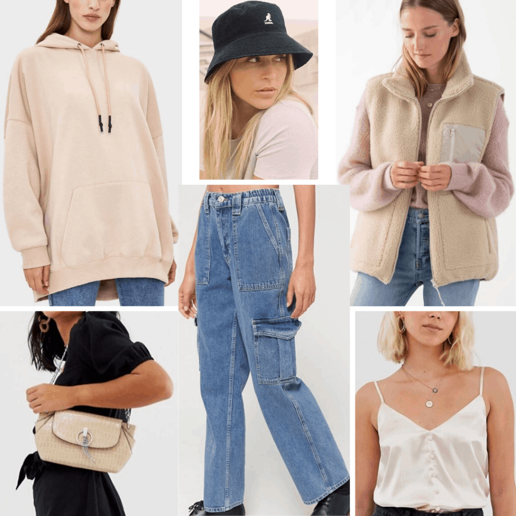 Korean fashion - street style outfit with baggy mom jeans, satin cami, sweatshirt, baggy vest, neutral bag, bucket hat