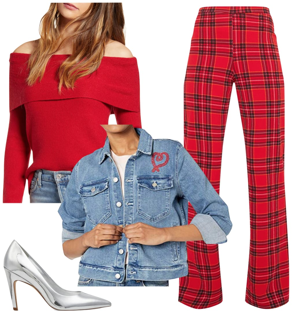 Lucy Hale Outfit: red off the shoulder sweater, red plaid wide leg pants, denim heart print embroidered jacket, and silver pumps