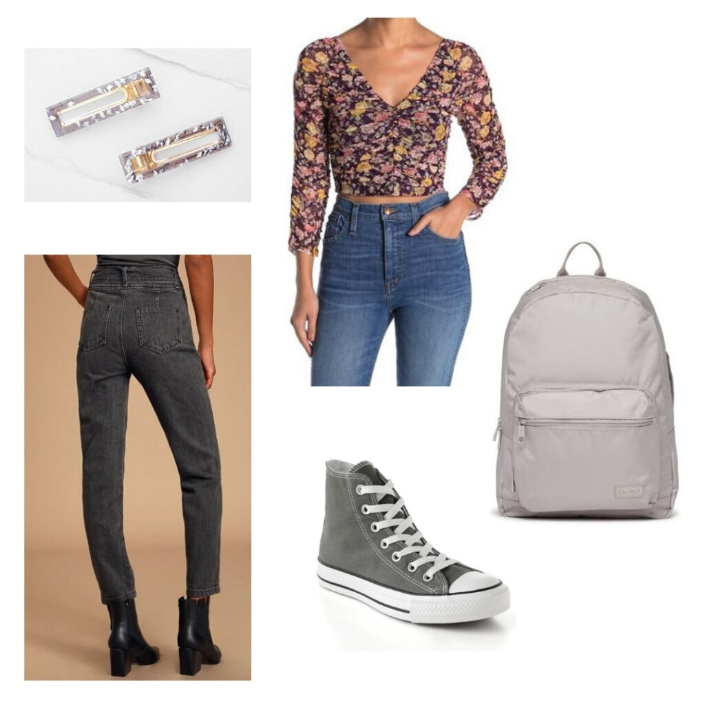 In the heights fashion: Light purple hair clips, floral top, grey jeans, grey Converse, grey backpack.