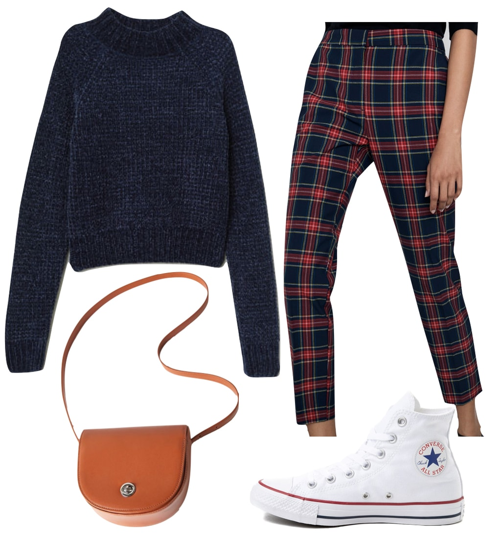 Nina Agdal plaid Outfit: navy blue turtleneck sweater, navy plaid trouser pants, brown faux leather saddle crossbody bag, and white high top Converse Chuck Taylor All Star sneakers