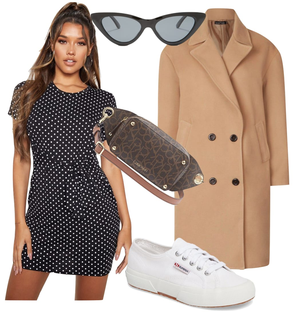 Nina Dobrev Outfit: black and white polka dot mini dress, cat-eye sunglasses, camel mid-length coat, brown logo printed belt bag, and white low top-sneakers