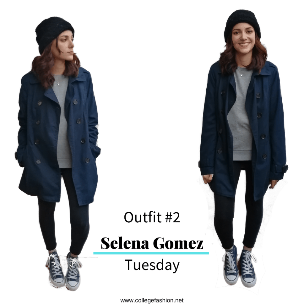 Selena Gomez Style Tuesday: sweatshirt, leggings, converse, coat and beanie