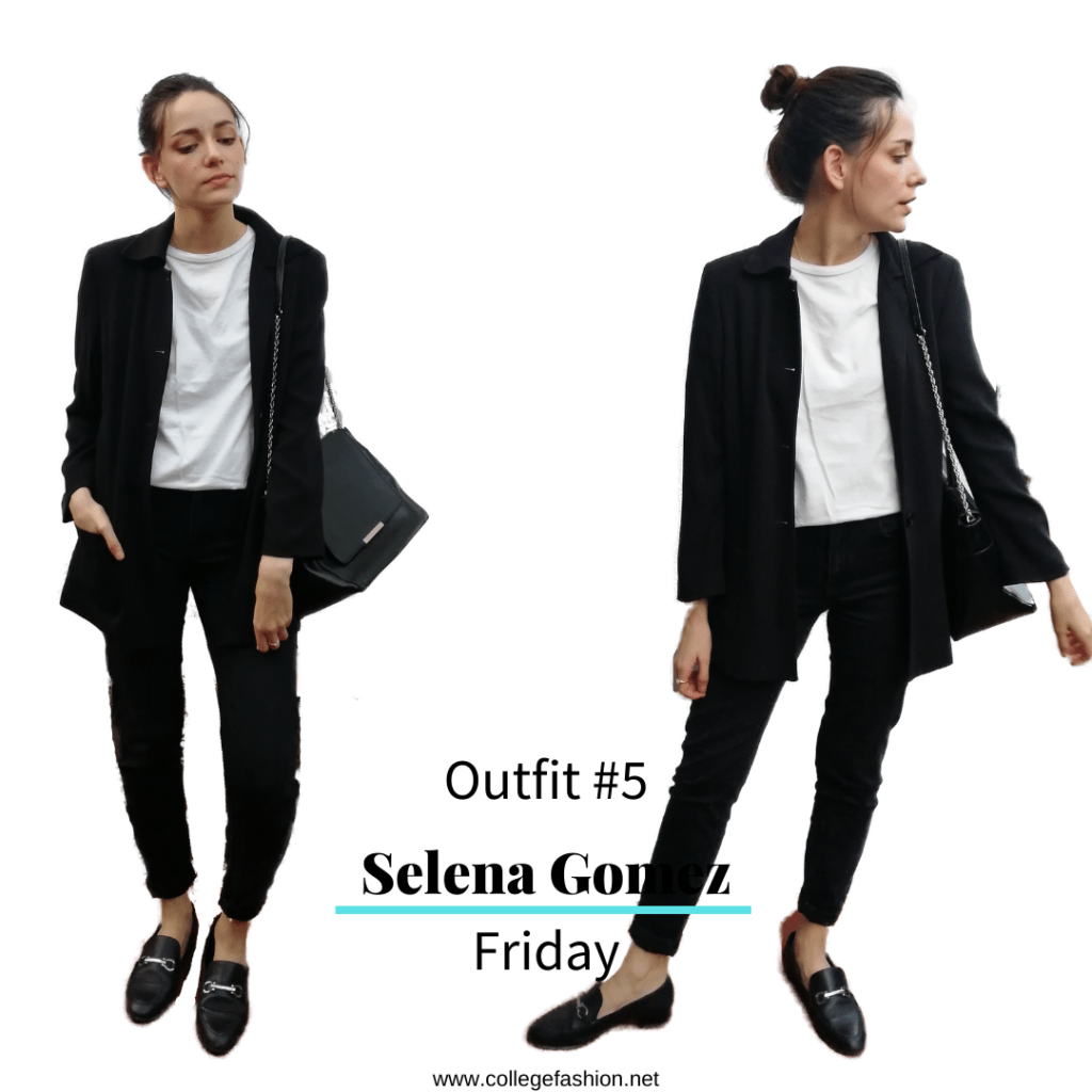Selena Gomez Style Friday: black jeans, white tee, black coat, loafers, purse