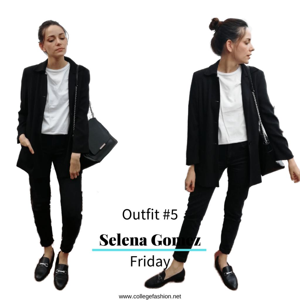 Selena Gomez Style Friday: black jeans, white tee, black coat, loafers, purse