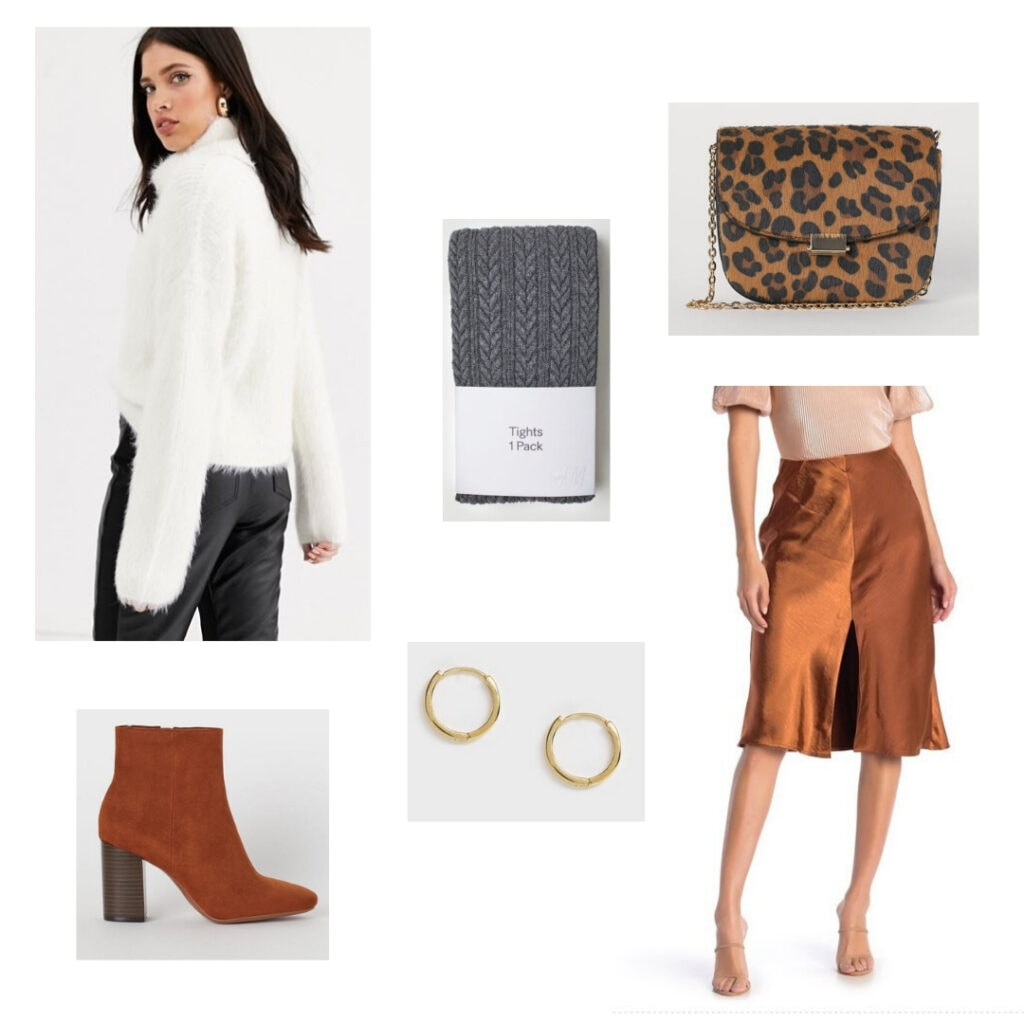 What to wear to a holiday party: White sweater, grey tights, leopard bag, orange skirt, gold earrings, orange boots.