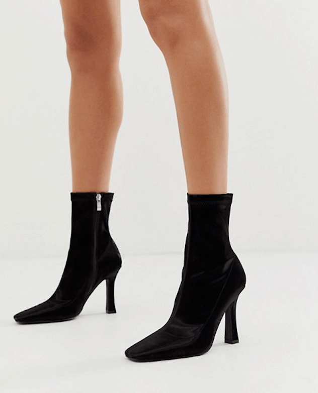 ASOS square toe sock boots with wide flared heel