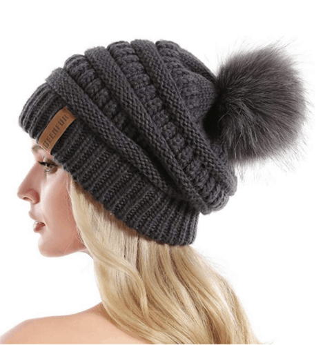 Oversized winter pom pom hat from Amazon - what to wear in snow