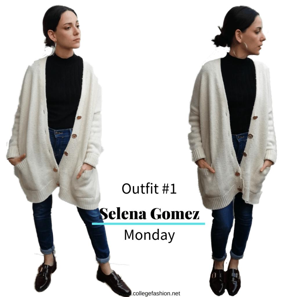 Selena Gomez' style Monday: cardigan, mock neck sweater, jeans, loafers