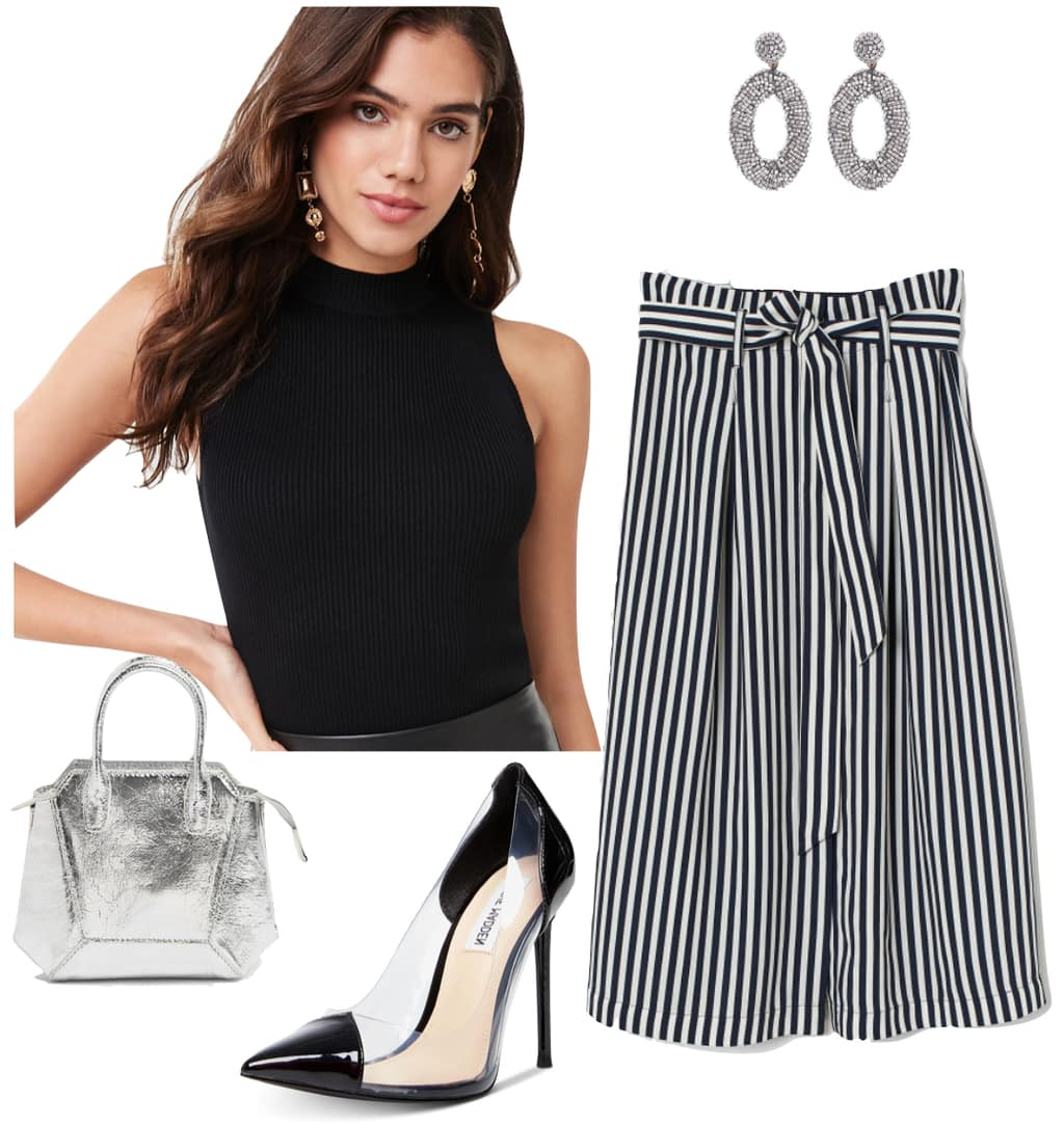 Selena Gomez Outfits 2019 - #1: black mock neck sleeveless tank top, black and white striped paperbag midi skirt, silver beaded earrings, black and clear pointy toe heels, and silver mini top handle bag