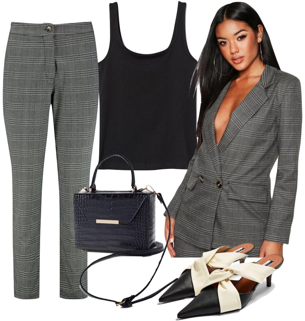 Selena Gomez Outfit #2: plaid trouser pants, plaid blazer, black sleeveless top, black crocodile crossbody bag, and black and cream knot heeled mules