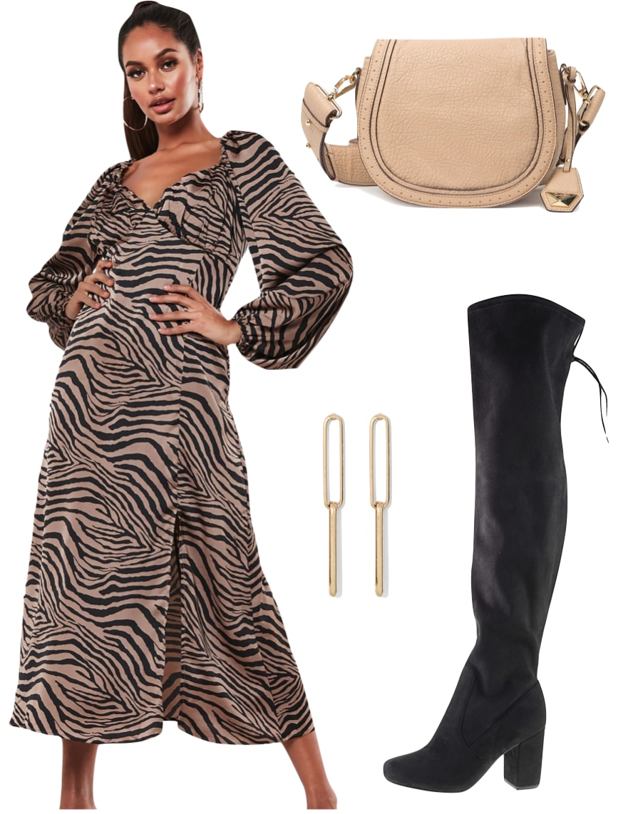 Selena Gomez Outfit #3: zebra print long sleeve midi dress, taupe shoulder bag, gold link earrings, and black over the knee boots