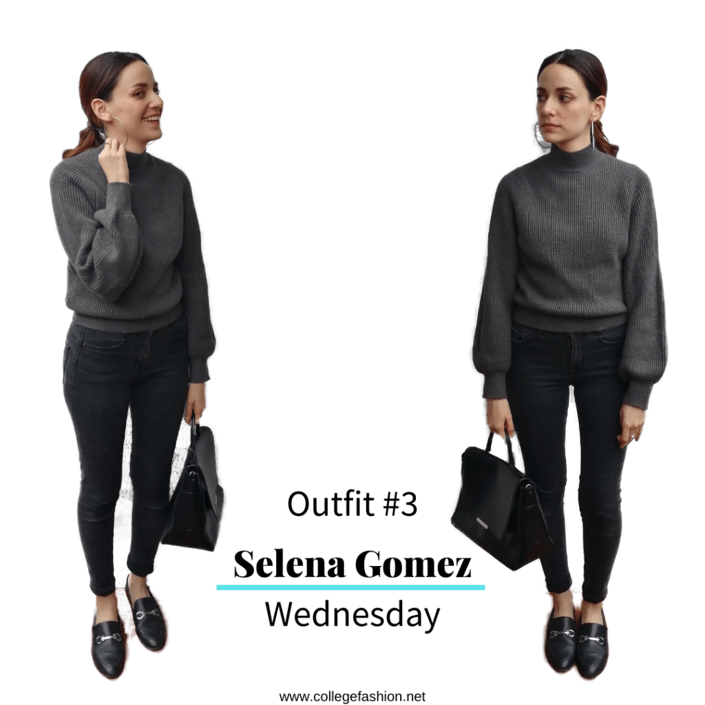 Selena Gomez Style Wednesday: grey sweater, jeans, loafers, bag