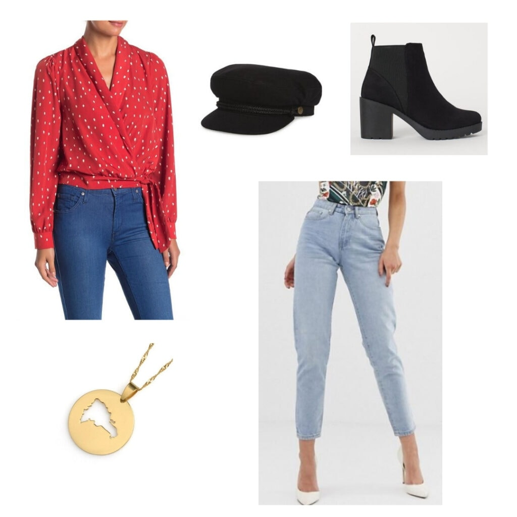 In the heights fashion - Usnavi outfit: Red blouse, black cap, black heeled boots, light blue jeans, gold Dominican Republic necklace.