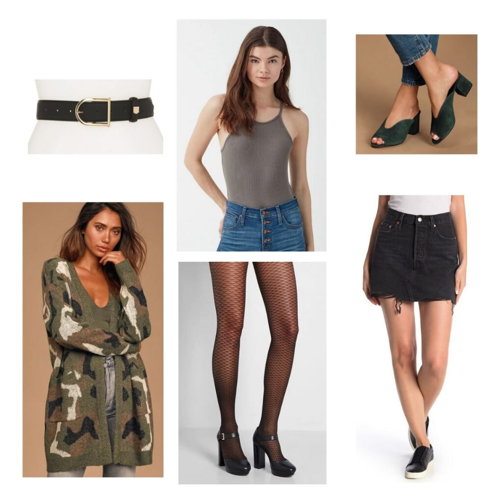 In the heights fashion - Vanessa outfit: Belt, camo sweater vest, olive green top, black tights, black jean skirt, green block heels.