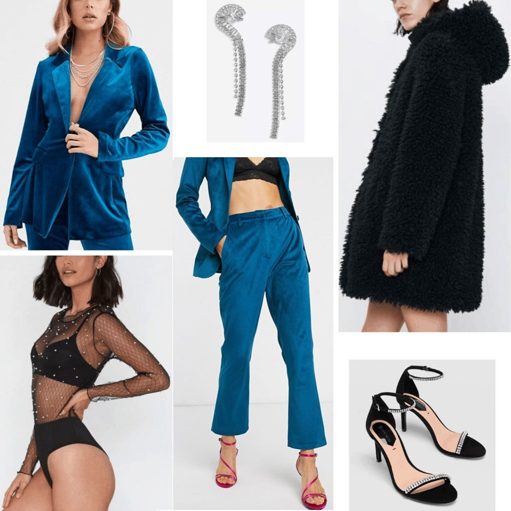 Winter party outfits: Cute winter party outfit idea with teal velvet suit, oversized coat, strappy heels, bralette, dangle earrings