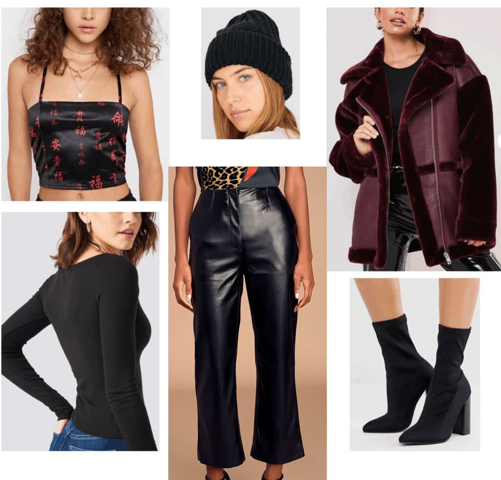 Winter party outfits: Winter party look with black faux leather pants, crop top, long sleeve tee, oversized jacket, sock boots
