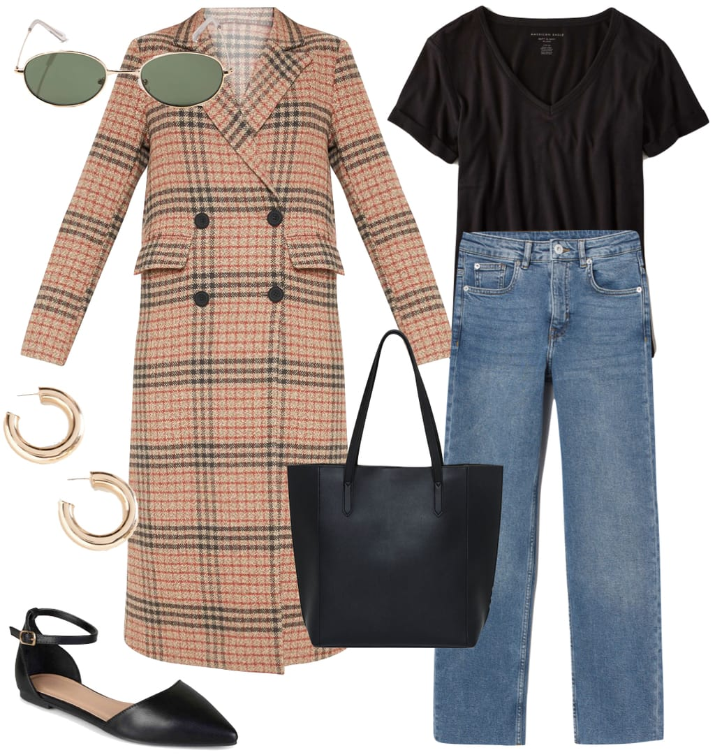 Zoë Kravitz Outfit: plaid long coat, black v-neck t-shirt, straight leg jeans, metal oval sunglasses, chunky gold hoop earrings, black faux leather tote bag, and black ankle strap flats
