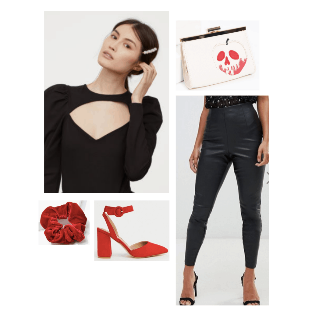 Evil queen fashion - outfit inspired by the Evil queen from Snow White with black leather pants, velvet cutout top, red heels, skull bag
