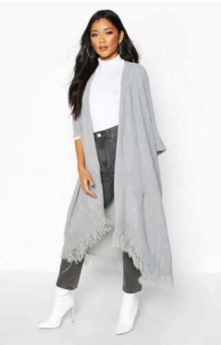 Gray cape with fringe from Boohoo