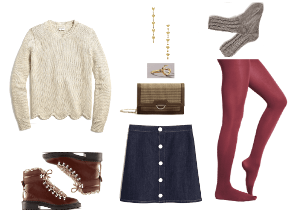 The New Ways to Wear Colored Tights for Winter 2020 | colored tights Outfit #1 with button front skirt, scalloped sweater, socks, ankle boots