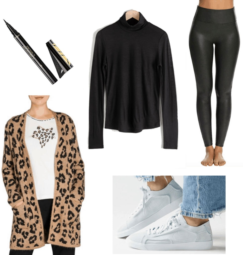 Cheetah cardigan outfit: Outfit set with cheetah cardigan, black top, black leggings, and white sneakers.