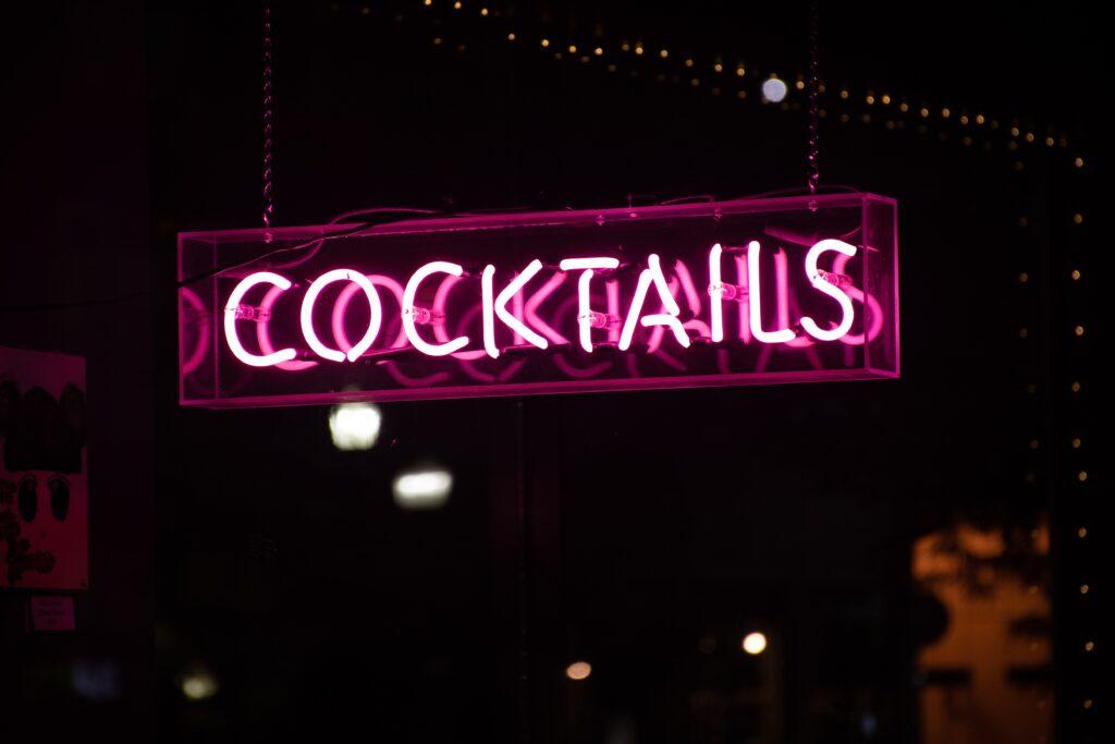 Stock photos of a neon bar sign