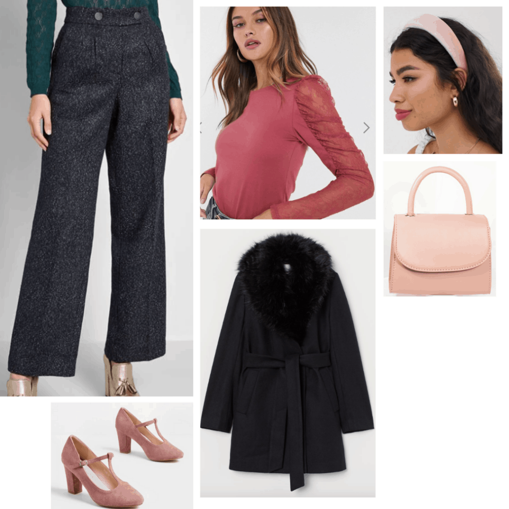 Cruella de vil style: Outfit inspired by Cruella with wide leg pants, puff sleeve top, pink headband, pink purse, black coat, pink heels