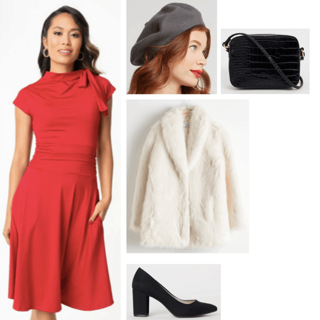 Cruella de Vil style: Outfit inspired by Cruella with red dress, white coat, black beret, black purse, black heels