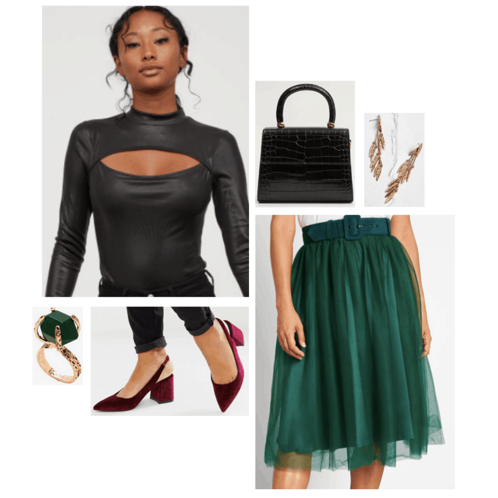 Maleficent fashion: Outfit inspired by Maleficent with green tulle skirt, red velvet heels, black leather top, gold jewelry