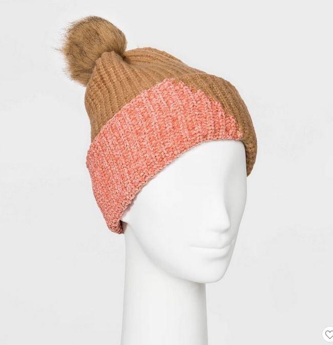 Cute gifts under 20: Pink + brown beanie.