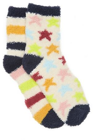 Fuzzy socks with stripes and stars patterns.