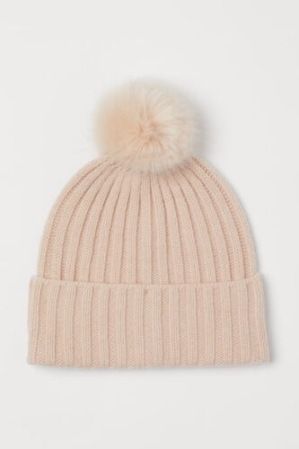 Knit Hat with Pompoms in Light Beige