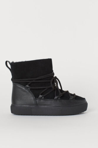 Warm-lined Suede High Top Boots in Black