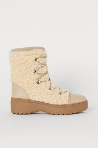 Cute winter boots for college: Light Beige Pile Boots