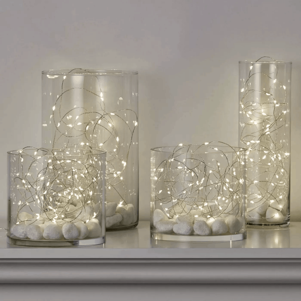 Christmas lights in room ideas - lights in a jar