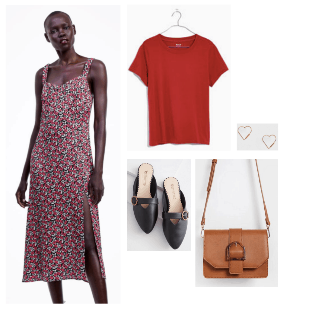 Outfit inspired by Samantha's style in sixteen candles: Printed midi dress, red t-shirt, slip on flats, heart earrings, crossbody bag