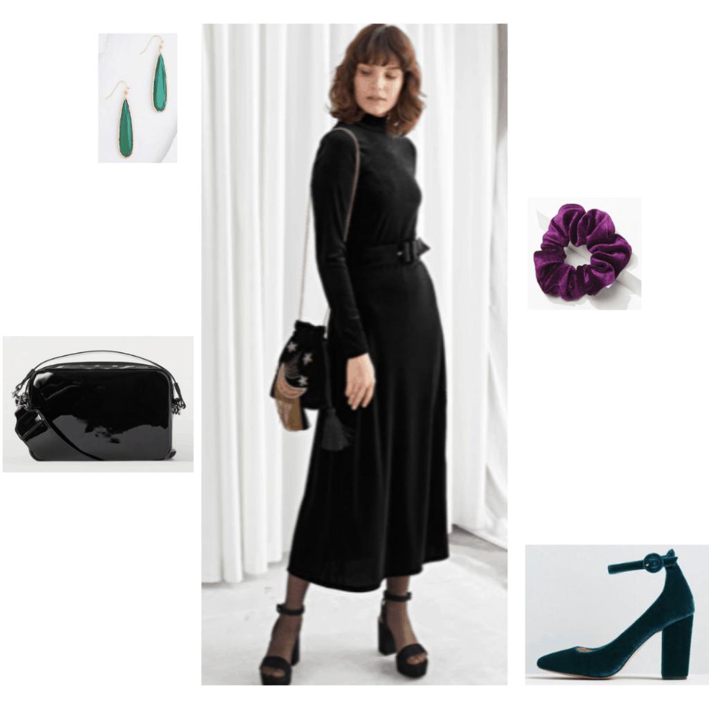 Maleficent fashion: Outfit inspired by Disney's maleficent with black velvet dress, purple velvet scruchie, green earrings, black purse, velvet heels