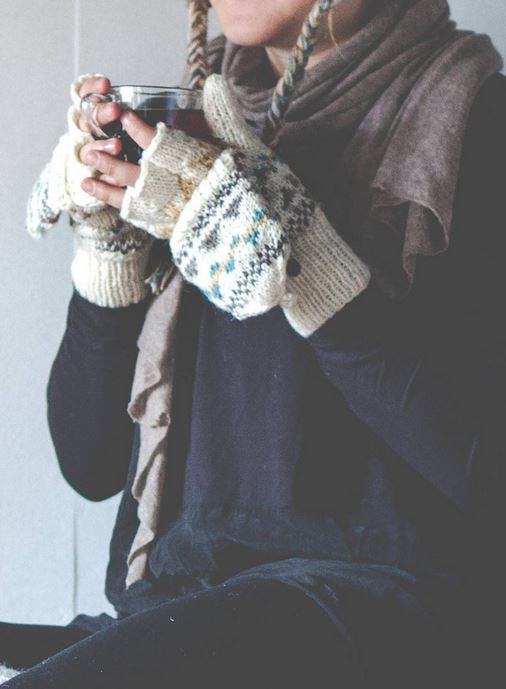 Patterned gloves.