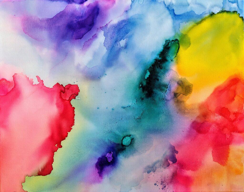 Colorful watercolor.